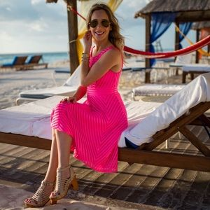 Lilly Pulitzer Tilly pink midi dress fit flare